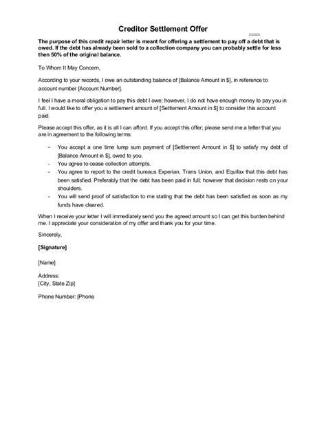 And Settlement Offer Letter Template by Sle Letter Creditor Settlement Offer