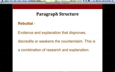Argument Writing  Body Paragraph Format For High School Youtube