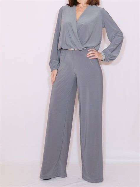 long sleeve jumpsuit wide leg jumpsuit gray jumpsuit wrap top