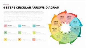 9 Steps Circular Arrows Diagram Powerpoint Template And
