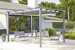 La tonnelle lorca en aluminium et acier avec toile for Toile tendue exterieur terrasse 15 pergola retractable