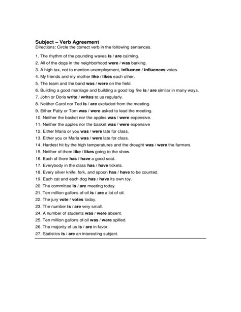subject verb agreement exercises for class 4 verbs and