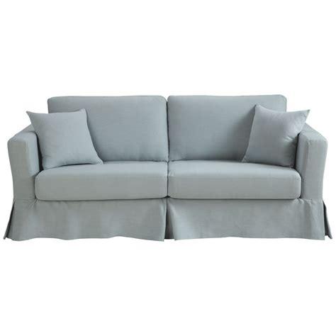ausziehbares 3 sitzer sofa aus leinen graublau royan royan maisons du monde