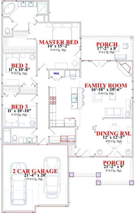 Bungalow Style House Plan 3 Beds 2 Baths 1730 Sq/Ft Plan