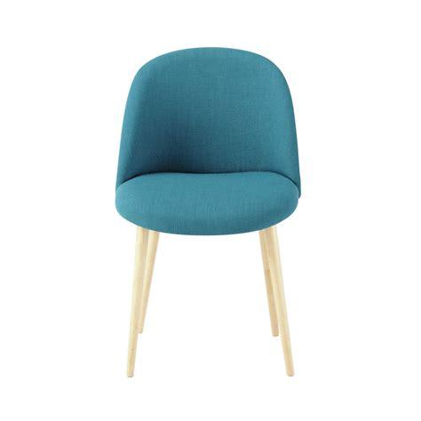 la chaise et bleue chaise vintage en tissu et bouleau massif bleu pétrole