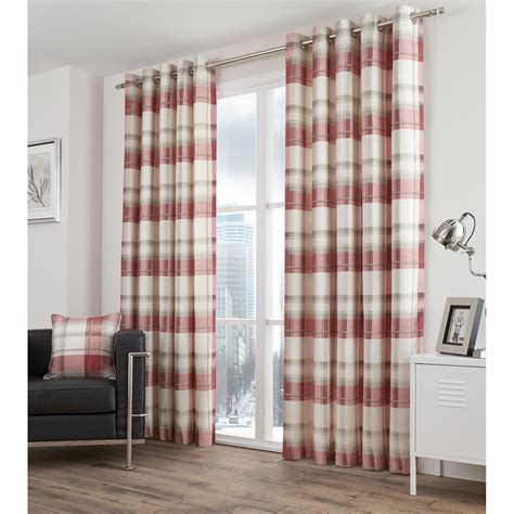 Tartan Plaid Drapes - highland tartan lined eyelet curtains pair with plaid