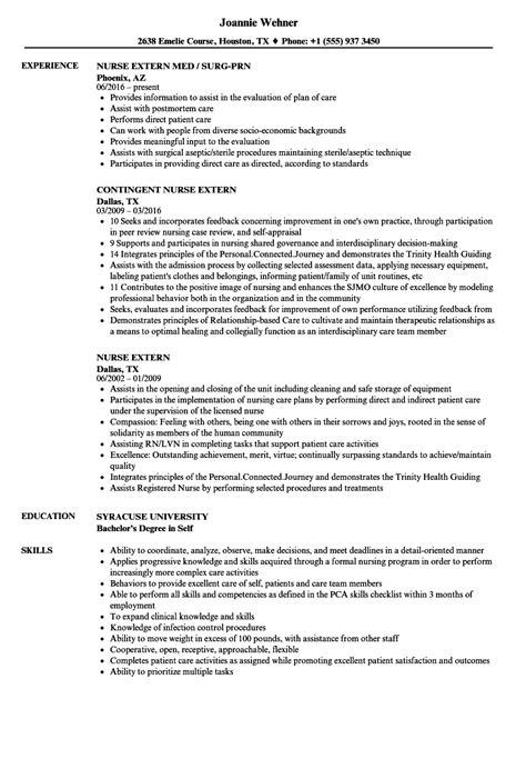 nursing student resume for externship extern resume sles velvet