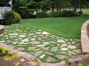 patio grass stone natural stone patio  grass joints