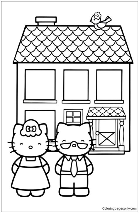 kitty mom  dad coloring page  coloring