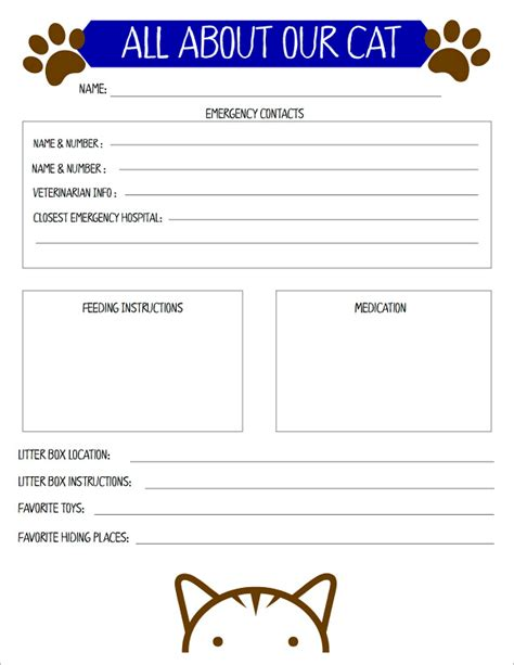 kitchen planner free preparing for a cat sitter with a free printable cat