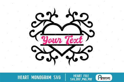 This heart svg file is perfect for valentine's day crafts! heart svg, heart svg file, heart monogram svg, heart ...