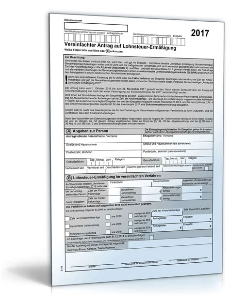vereinfachter antrag auf lohnsteuer ermaessigung