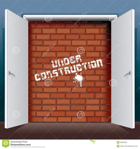open brick wall doors open to brick wall with under construction royalty