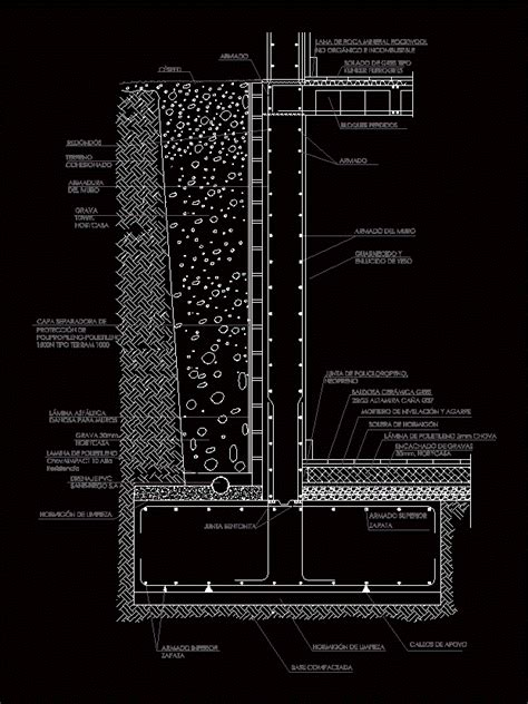 concrete retaining wall dwg detail  autocad designs cad