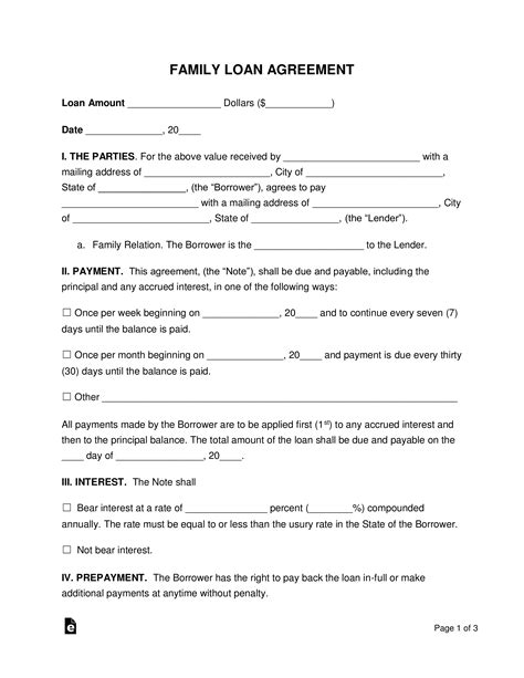 family loan agreement template  word eforms