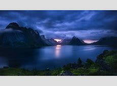 nature, Landscape, Fjord, Lofoten Islands, Norway, Sunset