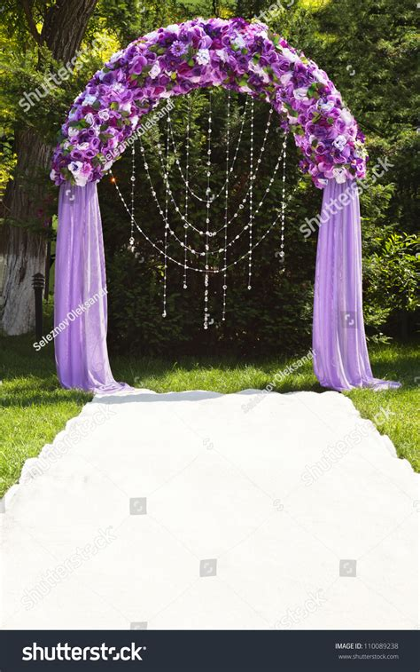 wedding arch purple roses stock photo  shutterstock