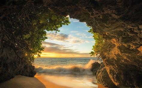 nature, Landscape, Beach, Cave, Sea, Sunset, Sand, Clouds ...