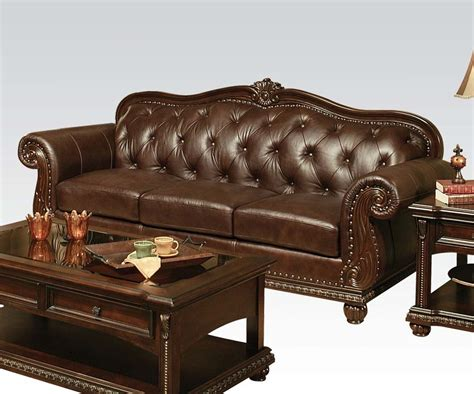 leather look sofa set acme furniture anondale top grain leather sofa set