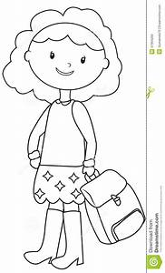 School Girl Coloring Page Stock Illustration - Image: 51994293