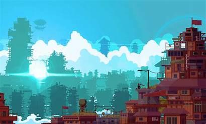 Pixel Background Landscape Houses Medium Windy Gaming