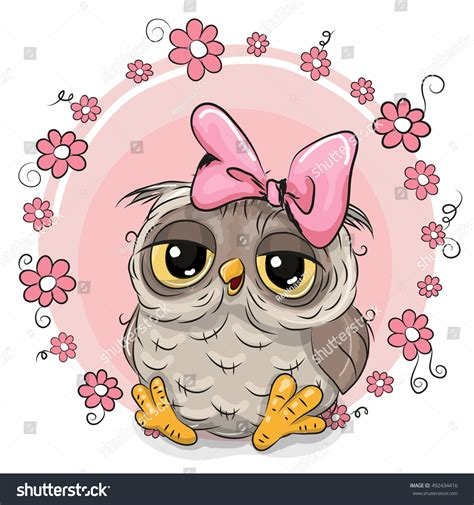 greeting card owl flowers  pink stock vector