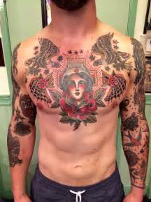 traditional chest tattoo ideas  pinterest