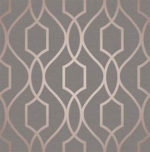 Fine Decor Apex Geo Rose Gold Grey Wallpaper FD41998