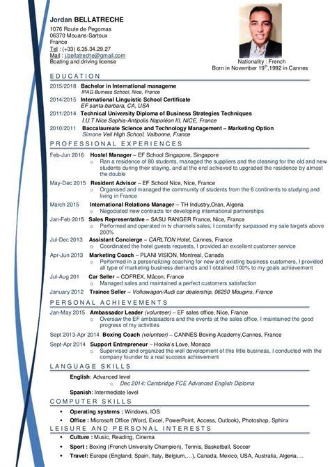 Modèle De Cv Professionnel 2016 mod 232 le cv anglais mod 232 le de cv professionnel lusocarrelage
