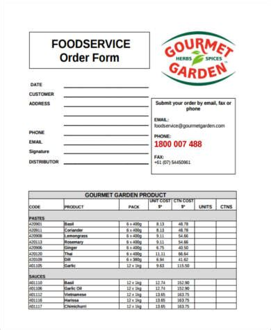 sample food order forms