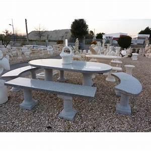 Table Et Banc De Jardin : ensemble table et banc en granit cinza achat vente ~ Melissatoandfro.com Idées de Décoration