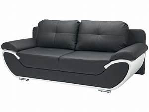 canape fixe convertible 3 places pacora coloris noir et With canape cuir noir et blanc conforama