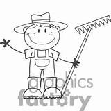 Farmer Clip Clipart Boy Cartoon Rake Coloring Pages Holding Stick Figure Clipartpanda Royalty Farmers Drawing Graphicsfactory Sold Garden sketch template