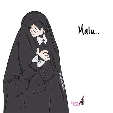 gambar kartun muslimah bercadar malu animated picz