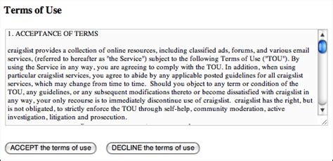 terms of use how do i list on craigslist
