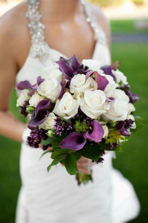 white purple wedding bouquet flowers white lillies