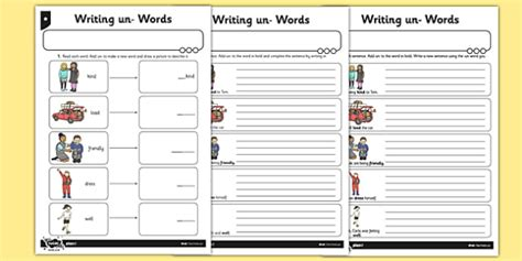 writing un words differentiated worksheet activity