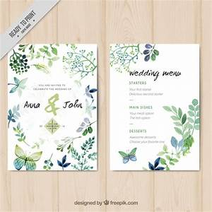 Wedding invitation with watercolor leaves and butterflies for Wedding invitation with watercolor leaves and butterflies
