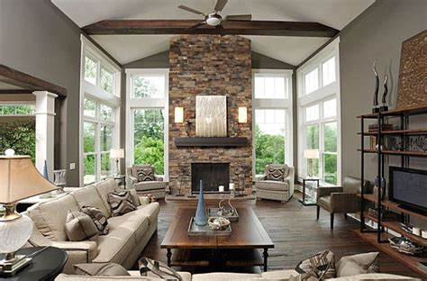 stone fireplaces ideas  contemporary living rooms