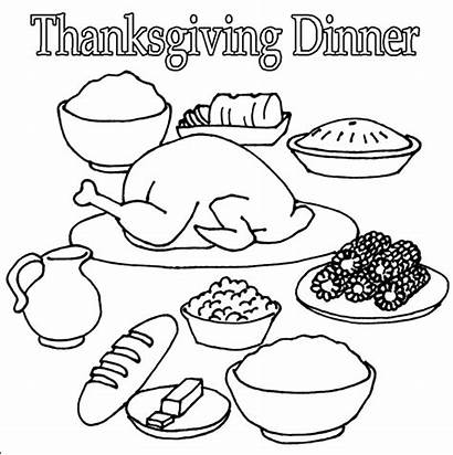 Thanksgiving Coloring Dinner Pages Turkey Clipart Drawing