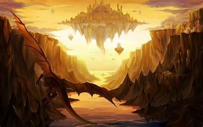 Fantasy Dragons Castle Castles Sky Dragon Floating