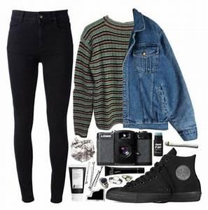 Sweater grunge denim jacket aesthetic tumblr tumblr sweater polyvore cardigan punk punk ...