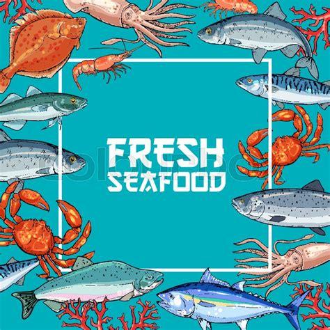 fresh seafood  fish poster crab salmon shrimp tuna