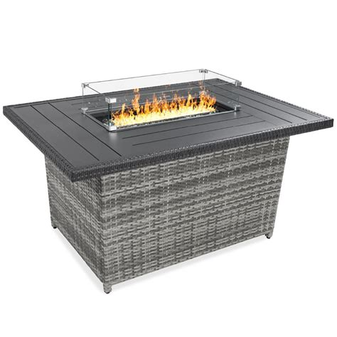 Durable tempered glass construction to withstand design fire pit structure to allow for glass surround to be safe distance from fire. 52in Wicker Propane Fire Pit Table, 50,000 BTU w/ Glass ...