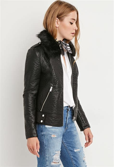forever 21 faux leather moto jacket in black lyst