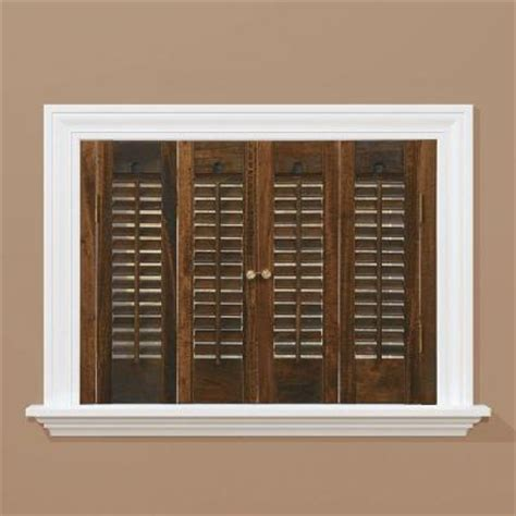 wooden shutters interior home depot homebasics traditional real wood walnut interior shutter price varies by size qstd2728 the