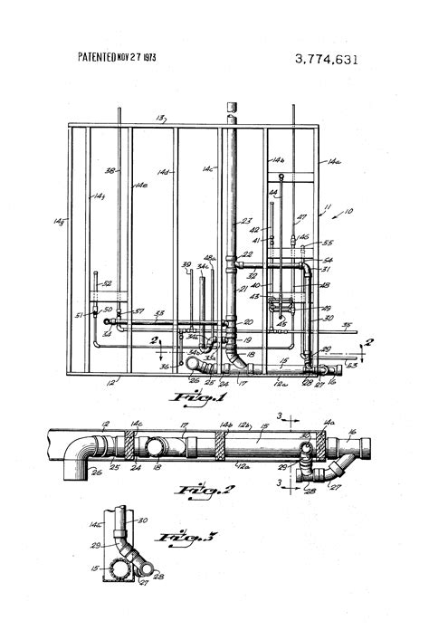 patent us3774631 prefabricated modular rough plumbing