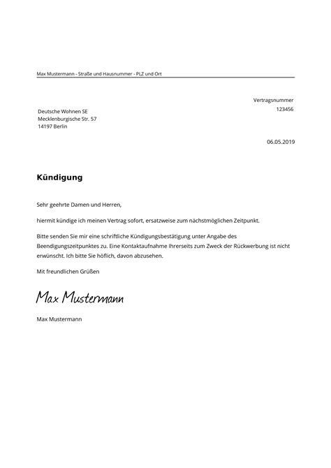 deutsche wohnen kuendigen muster vorlage zur kuendigung