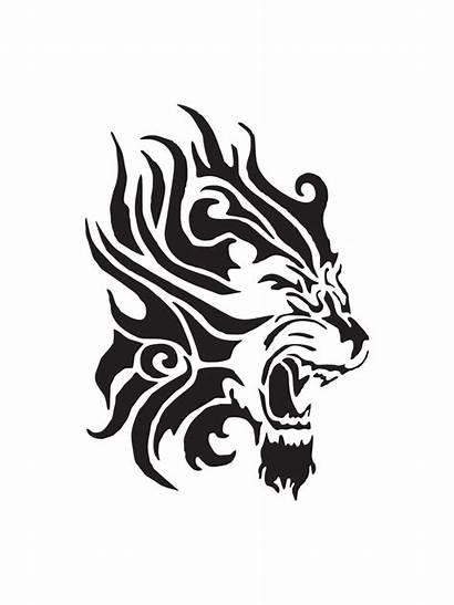 Lion Tattoo Tribal Fierce Stencil Stencils Clipart