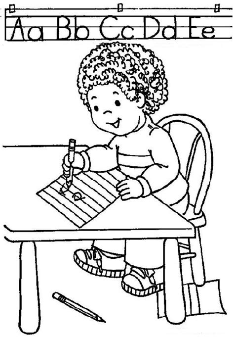 Learn ABC On First Day Of School Coloring Page Download